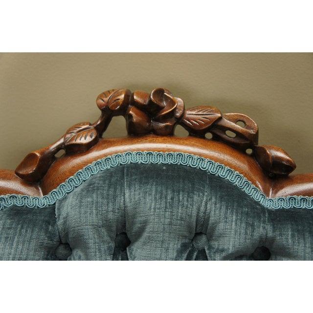 Image of Blue-Green Tufted Velvet Side Chair