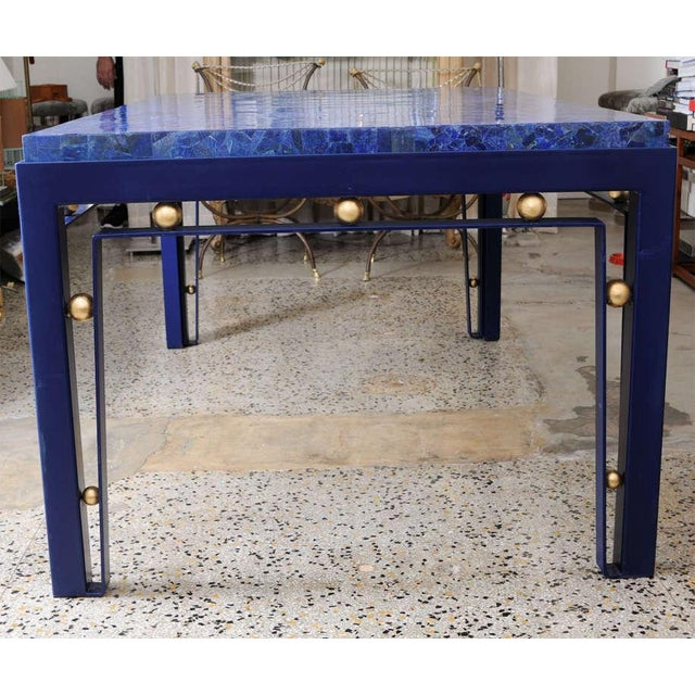 Important Iron Library Table with Lapis Lazuli Top in the Manner of Royere - Image 5 of 8