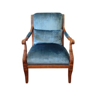 Peacock Blue Silk Velvet Bergere Armchairs - Pair