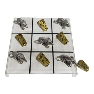 Metzke Pewter Mice & Cheese Tic Tac Toe Game