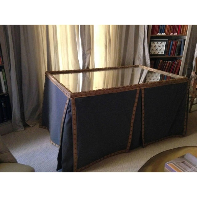 Wool Felt and Gold Braid Skirted Dressing Table with Antique French Mirror Top - Image 3 of 8