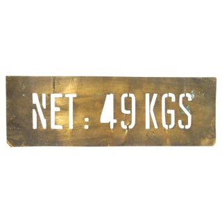 Vintage French Brass Shipping Stencil