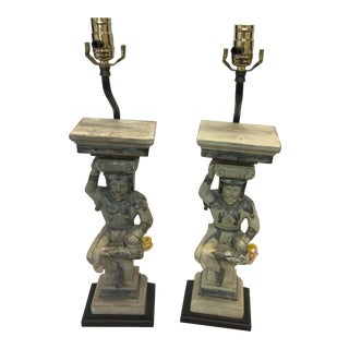 Hand Carved Wooden Court Jesters Lamps - A Pair