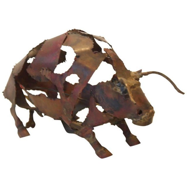 Torch-Cut Mixed Metal 'Bull' Sculpture - Image 3 of 11