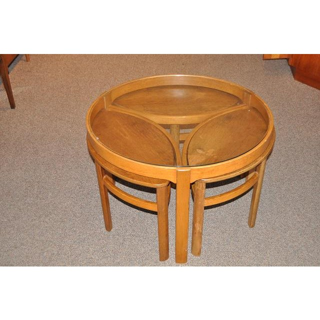 1960's Round Teak Coffee Table With Nesting Tables - Set ...