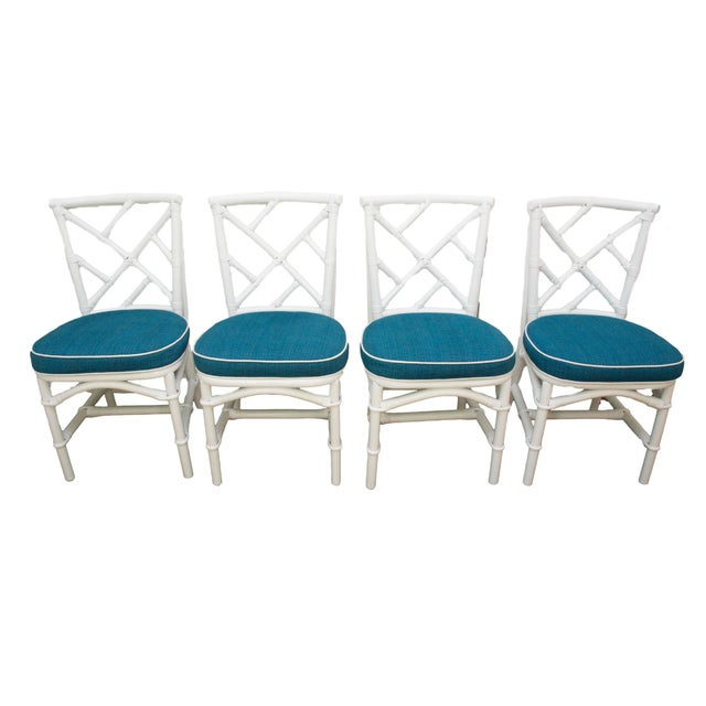 Refinished Ficks Reed Rattan Chairs - Set of 4 - Image 1 of 8