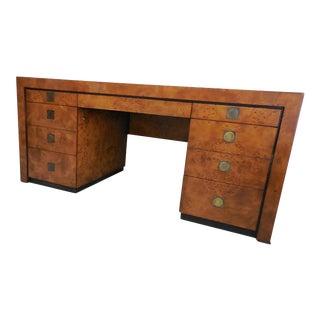 Hekman Mid-Century Executive Burl Wood Desk