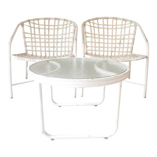 Brown Jordan White Outdoor Patio Chairs & Side Table - Set of 3
