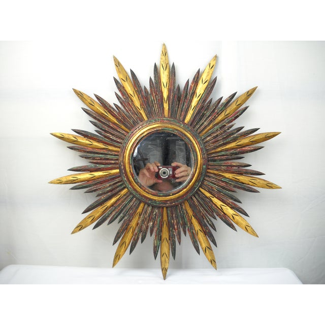 French Carved Wood Starburst Mirror - Image 4 of 8