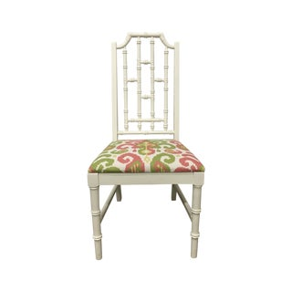 White Bamboo Chair W/ Duralee Pink & Green Seat