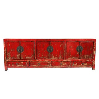 Vintage Red Lacquer Low Cabinet