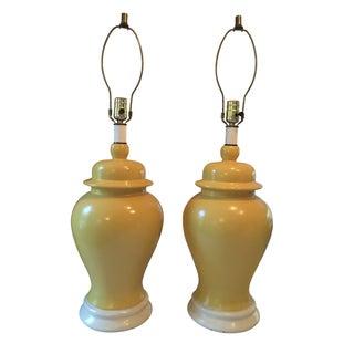 Mid Century Yellow Ceramic Lamps - Pair