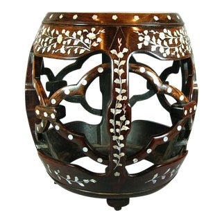 Antique Chinese Huali Rosewood Mother-Of-Pearl Inlaid Drum Stool