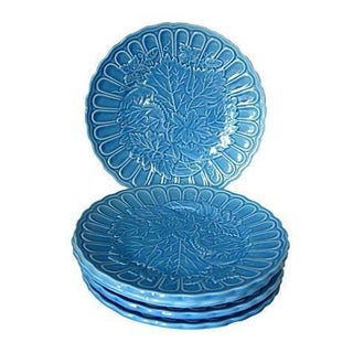 Periwinkle Blue Grapevine Snack Plates - Set of 5