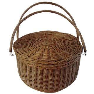 Vintage Large French Handled Basket
