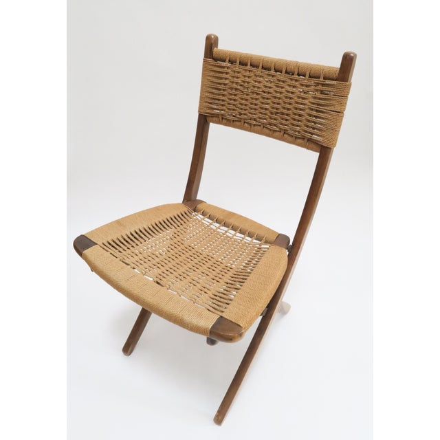Vintage Danish Modern Rope Folding Chair - Image 6 of 7