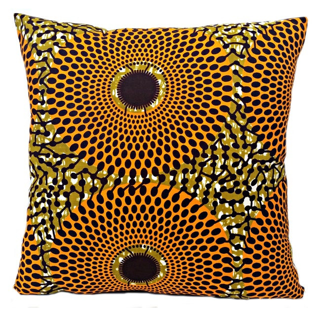 Summer Harvest African Wax Print Pillows- Pair - Image 1 of 5