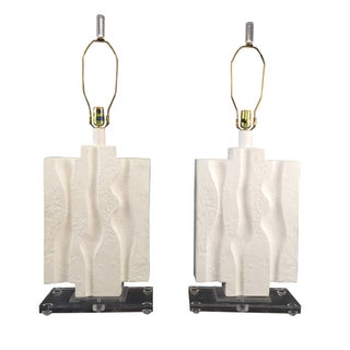 White Brutalist Lamps With Lucite Base - Pair