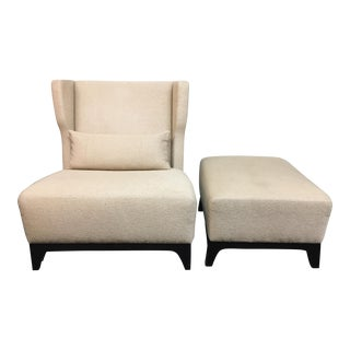 Contemporary Wing Back Chair & Ottoman - A Pair