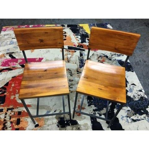 West Elm Rustic Counter Stools - A Pair - Image 6 of 11