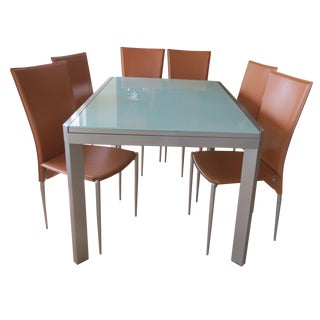 Calligaris Extendable Tempered Glass Dining Set