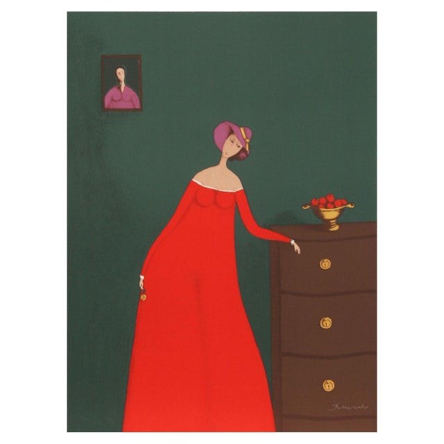 Image of Branko Bahunek - Woman With Apples Lithograph