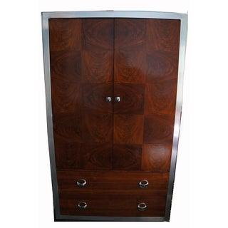 Milo Baughman Chrome & Primavera Wood Tall Dresser