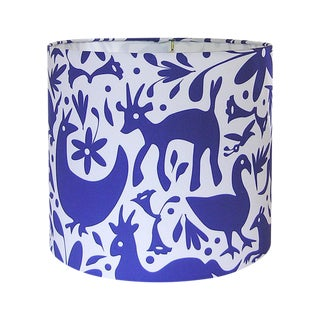 Blue & White Otomi Inspired Drum Lamp Shade