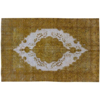 """Distressed Gold Overdyed Rug - 6' x 9'6"""""""