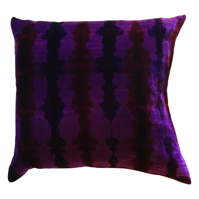 Shibori Velvet Pillows In Purple - A Pair - Image 1 of 1