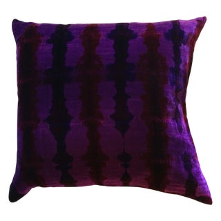 Shibori Velvet Pillows In Purple - A Pair