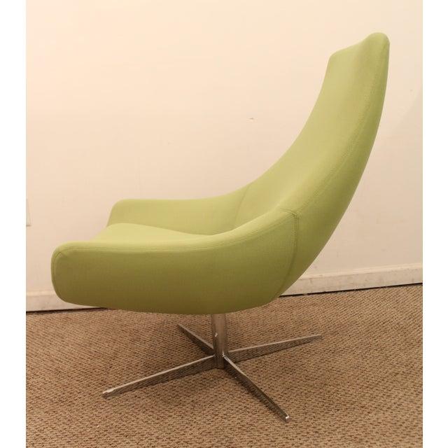 Mid Century Danish Modern Lime Green Swivel Lounge Chair