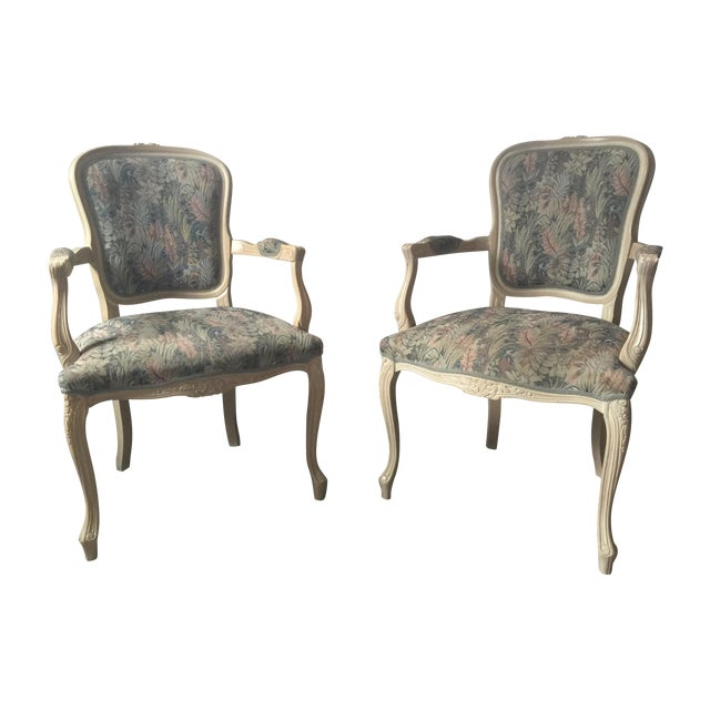 French Country Bergere Chairs - A Pair - Image 1 of 4