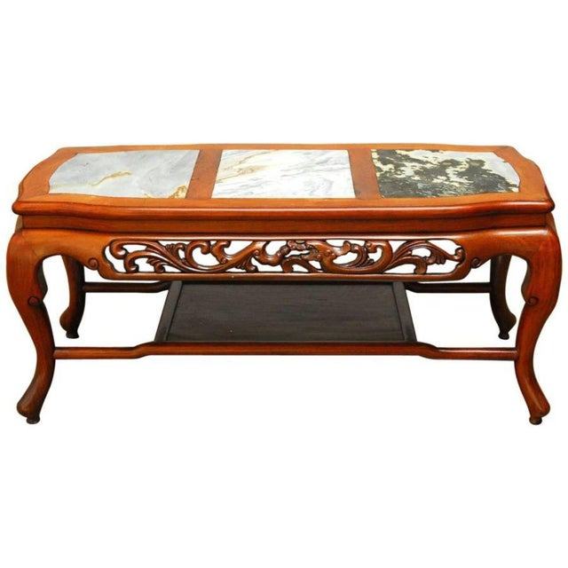 Chinese Relief Coffee Table: Chinese Rosewood & Marble Dali Panel Coffee Table