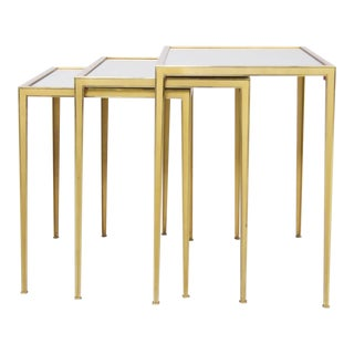 Set of Three Münchner Werkstätten Brass and Mirror Glass Nesting Tables