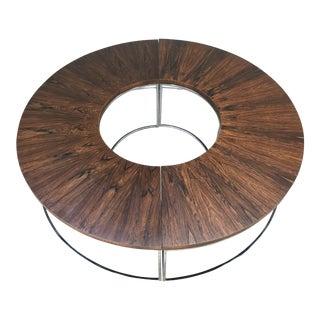 Milo Baughman Brazilian Rosewood and Chrome Two Part Circular Bench