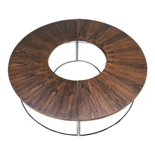 Milo Baughman Brazilian Rosewood and Chrome Two Part Circular Bench