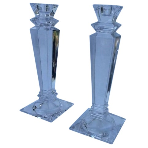 Tiffany Square Crystal Candlesticks - Pair - Image 1 of 3