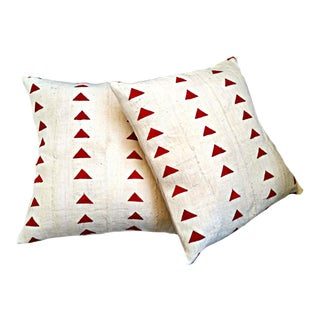 White and Red Mud Cloth Pillow Covers - a Pair