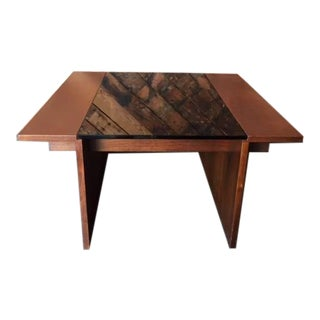 Vintage Walnut Side Table with Smoked Glass