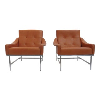 Super Rare Pair of Pieter De Bruyne Leather Lounge Chairs, Arflex, Italy, 1960