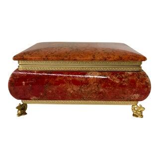 Italian Hand Carved Alabaster Trinket Box