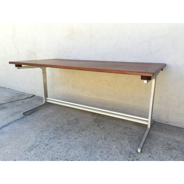 Mid-Century Industrial Metal & Walnut Desk - Image 10 of 11