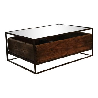 Metal, Glass and Wood Coffee Table