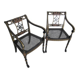 Grecian Fretwork & Caned Side Chairs - A Pair