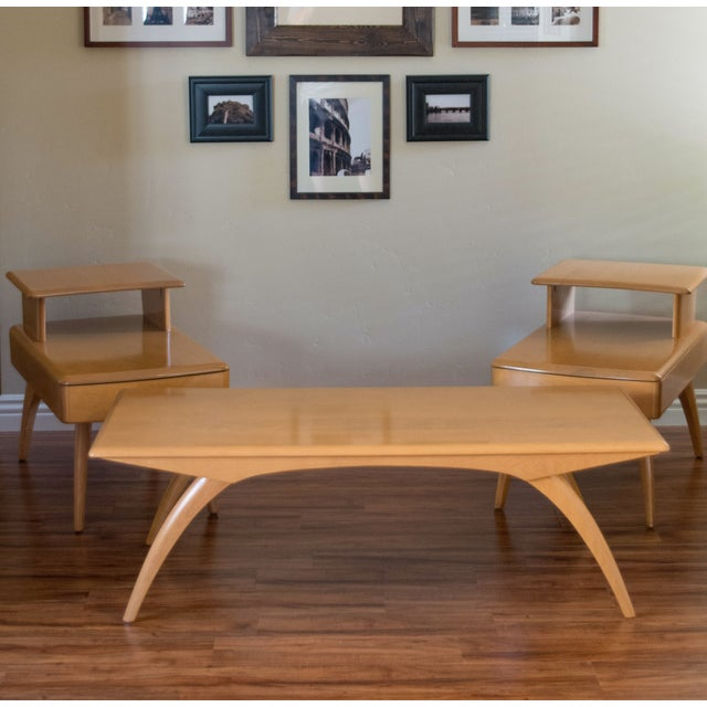 Heywood Wakefield Mid Century Coffee Table End Tables: Heywood Wakefield Mid-Century Tables - Set Of 3