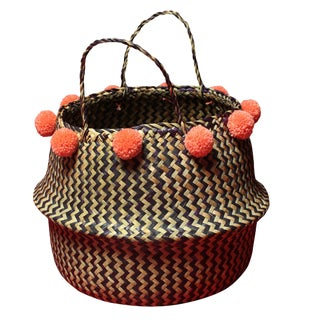 Borneo Zig-Zag Belly Basket With Salmon Pom-Poms