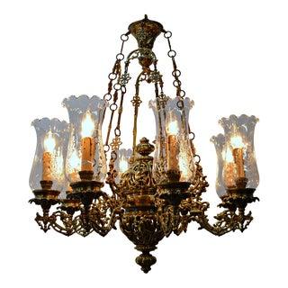 8 Light Brass Chandelier