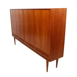 Danish Teak Locking Highboard Cabinet