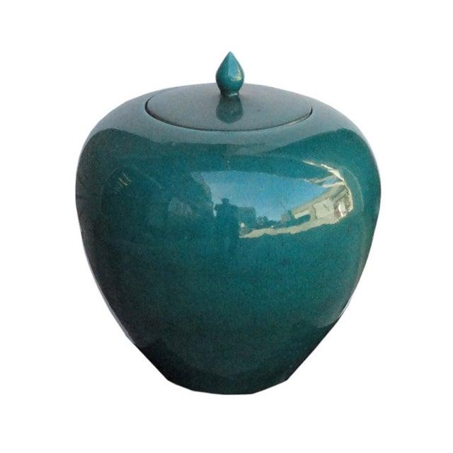 Image of Chinese Teal Green Porcelain Ceramic Fat Jar